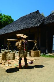 carrying rice bags with a pole
